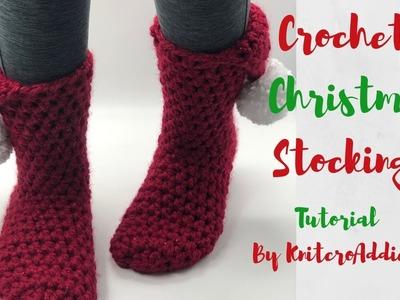 Crochet Christmas slipper stockings ( Written pattern& Tutorial )