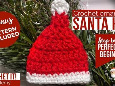 CROCHET SANTA HAT ???????? | Christmas ornaments | DIY Crochet Christmas Tree Ornaments | Step by step