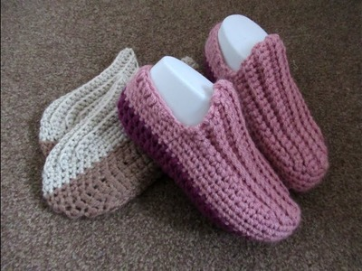 Crochet Slippers-moccasins Easy crochet tutorial - Designed by Happy Crochet Club