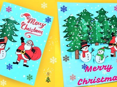 DIY 3D Christmas Pop Up Card. How to make Christmas Greetings Card. Easy Paper Craft