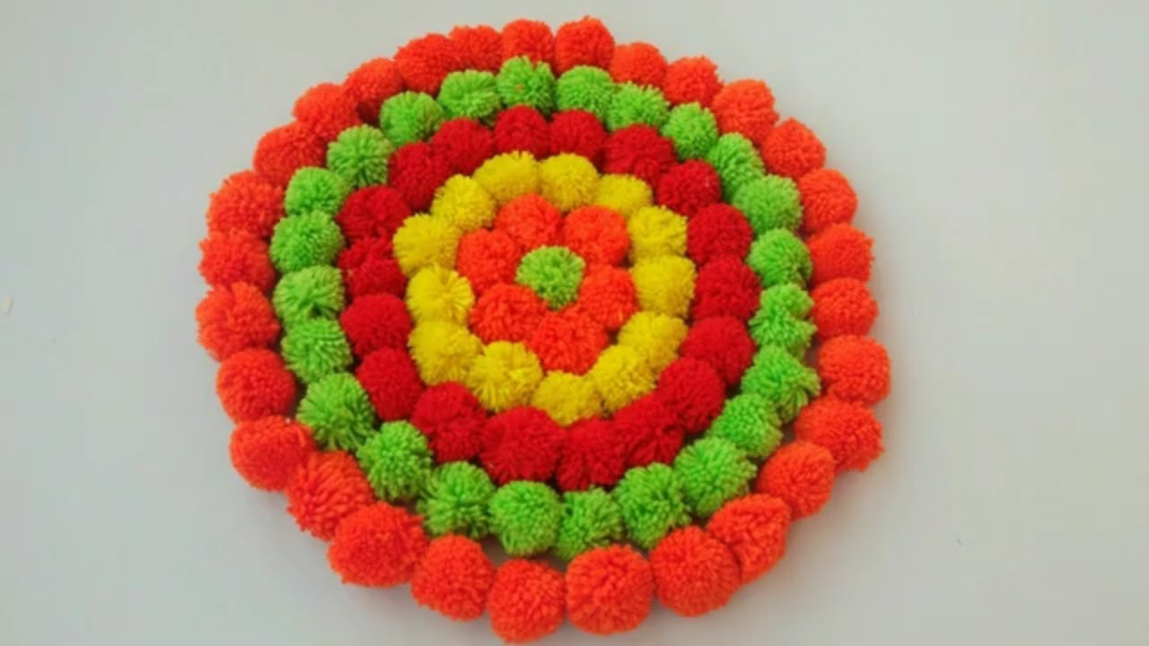 DIY BEAUTIFUL DOORMAT MAKING WITH WOOLEN POM POM || HOW TO MAKE DOORMAT CRAFT MAKING AT HOME ||