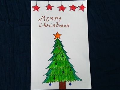 DIY Christmas Greeting Card!!Easy Drawing Tutorial for Kids
