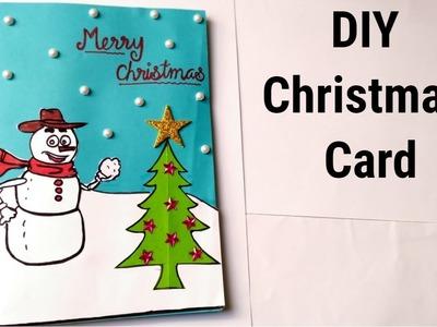 DIY Christmas Greeting card. Handmade Easy Christmas card for kids