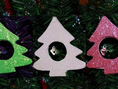 DIY  Christmas tree ornaments using glitter decor foam.paper and jingle bell.