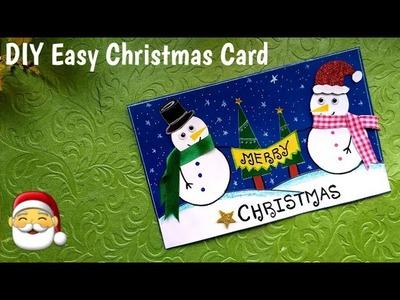 DIY Easy Christmas Card | Handmade Snowman #ChristmasCard Marking Idea #Xmascraft #Xmaskidscraft