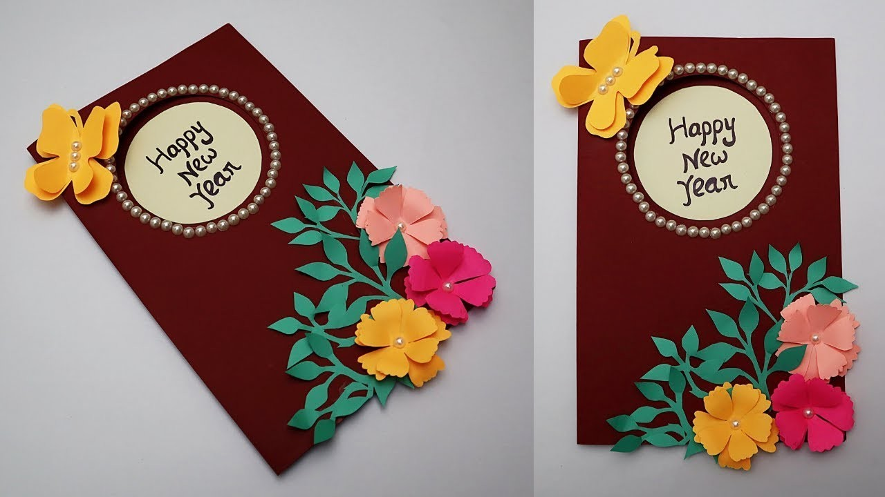 DIY New Year Card 2019, How to make Greeting Card for ...