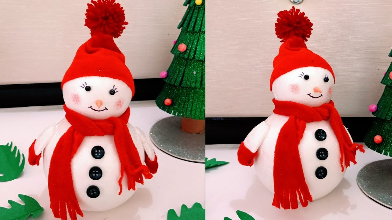 DIY Snowman.Snowman Making from Thermocole Ball.Snowman Making Idea for Kids.Snowman Craft for Kids