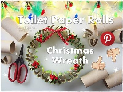 DIY Toilet Paper Rolls Christmas Wreath Pinterest ART Hack Test ♡ Maremi's Small Art ♡