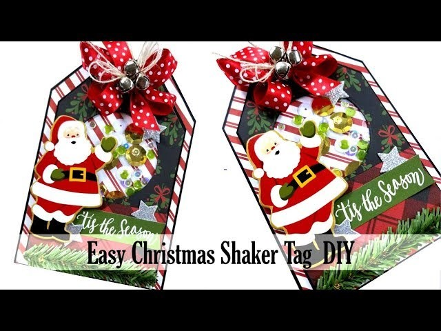 Easy Christmas Shaker Tag DIY Polly's Paper Studio Retro Process Tutorial Holiday Paper Craft Santa