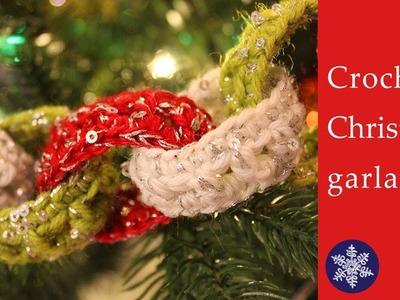 Easy crochet Christmas tree garland tutorial