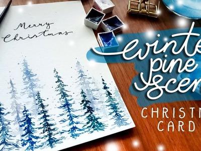 Easy DIY Winter Pine Christmas Card