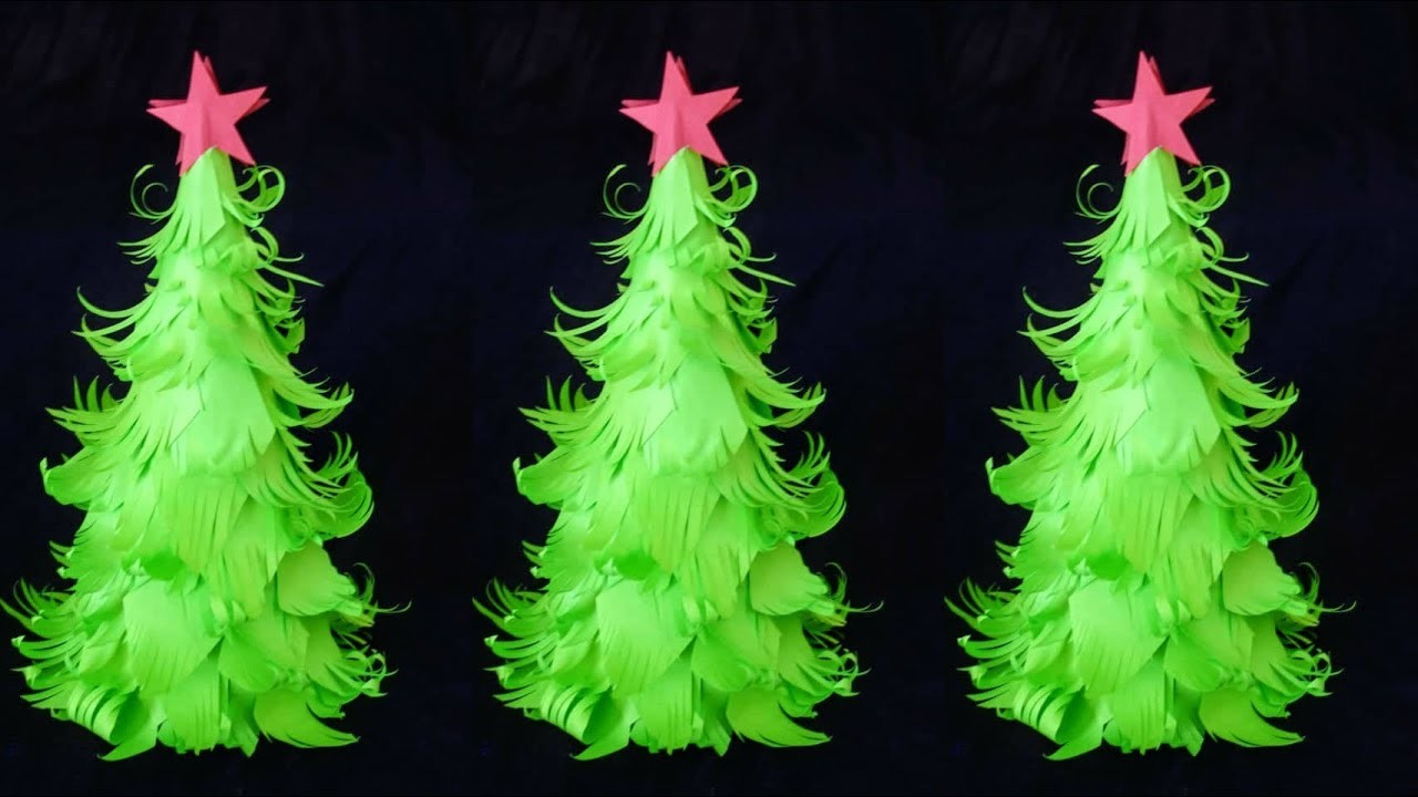 Paper Christmas Decorations.Easy Paper Christmas Tree L Diy Christmas Decorations Ideas