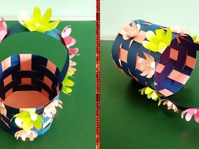 Flower basket. paper art. DIY handcraft.