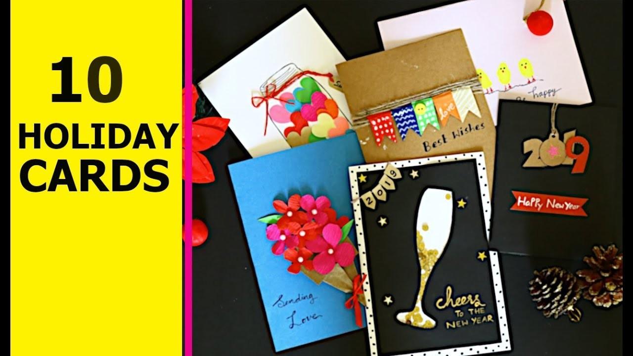 #holidaycards #greetingcards #diy 10 HANDMADE CARDS IDEAS    Aloha Crafts