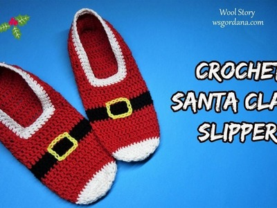 How to Crochet Santa Claus Slippers  (Heklane popke)