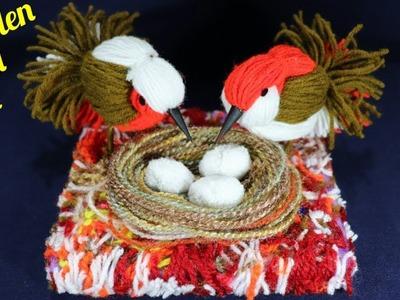 How to make a #Bird Nest l Easy DIY Room Decor idea.Love birds.Easy Woolen Bird craft