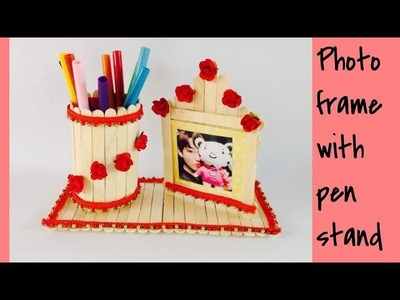 HOW TO MAKE A POPSICLE PEN HOLDER AND PHOTO FRAME. DIY EASY PHOTO FRAME