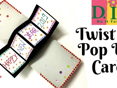 New Year Greeting Card|How to make Greeting card for new year|DIY Twist & Pop Up Card