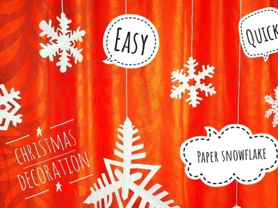 Paper Snowflake DIY- Easy & quick Paper Christmas decoration idea | Paper Christmas ornaments easy