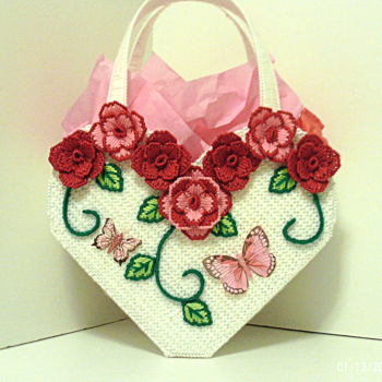 Red and Pink Rose Heart shaped Tote bag