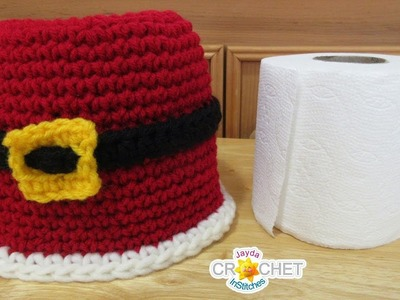 Bathroom Tissue Roll Cover - Santa's Suit Crochet Pattern