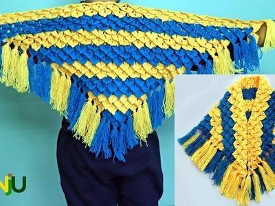 Crocodile design shawl or Poncho   Crochet shawl in hindi
