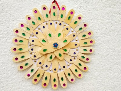 DIY ice cream stick craft। How to make flower wall hanging by ice cream stick। Home decor ideas.