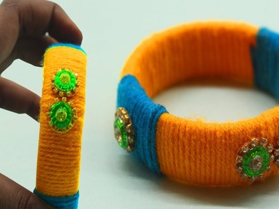 DIY Ideas ! How To Make Bangles At Home. Woolen Crafts