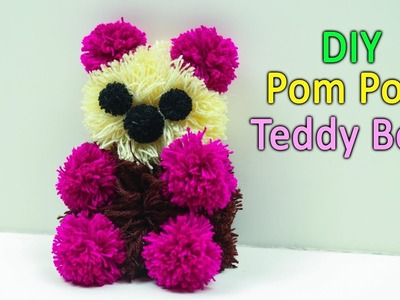 DIY pom pom teddy bear for Valentine`s gift|How to make yarn pom pom Teddy Bear