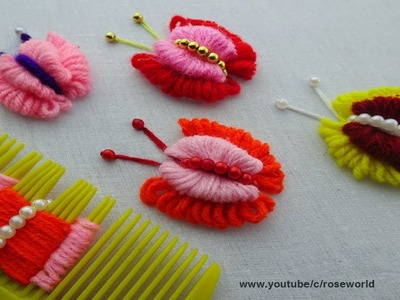 Hand Embroidery Amazing Trick  double layer Butterfly Embroidery Trick  super Easy Sewing Hack