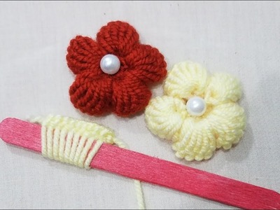 Hand Embroidery:Making Unique Puff Flower With Ice cream Stick.Amazing New Trick#Sewing Hack Part12