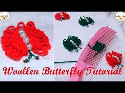 Hand embroidery.woollen butterfly making.DIY.Best out of waste.CROCHET: Butterfly