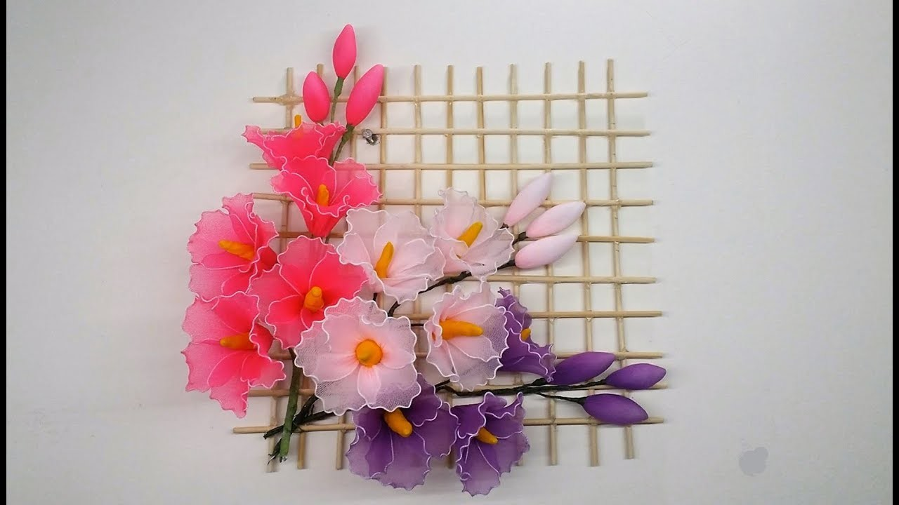 How to make a holyhock flower with nylon stocking.