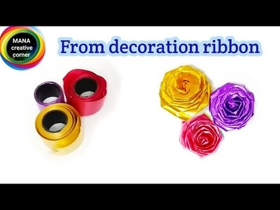 How to make a rose from ribbon#Rose flower making with decoration ribbon#Ribbon rose