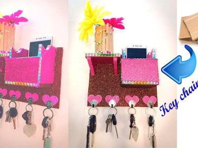 How to make Key chain holder and mobile stand with card board ! best out of waste ! cardboard crafts