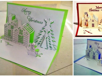 How to make pop up card for Christmas.christmas greeting card