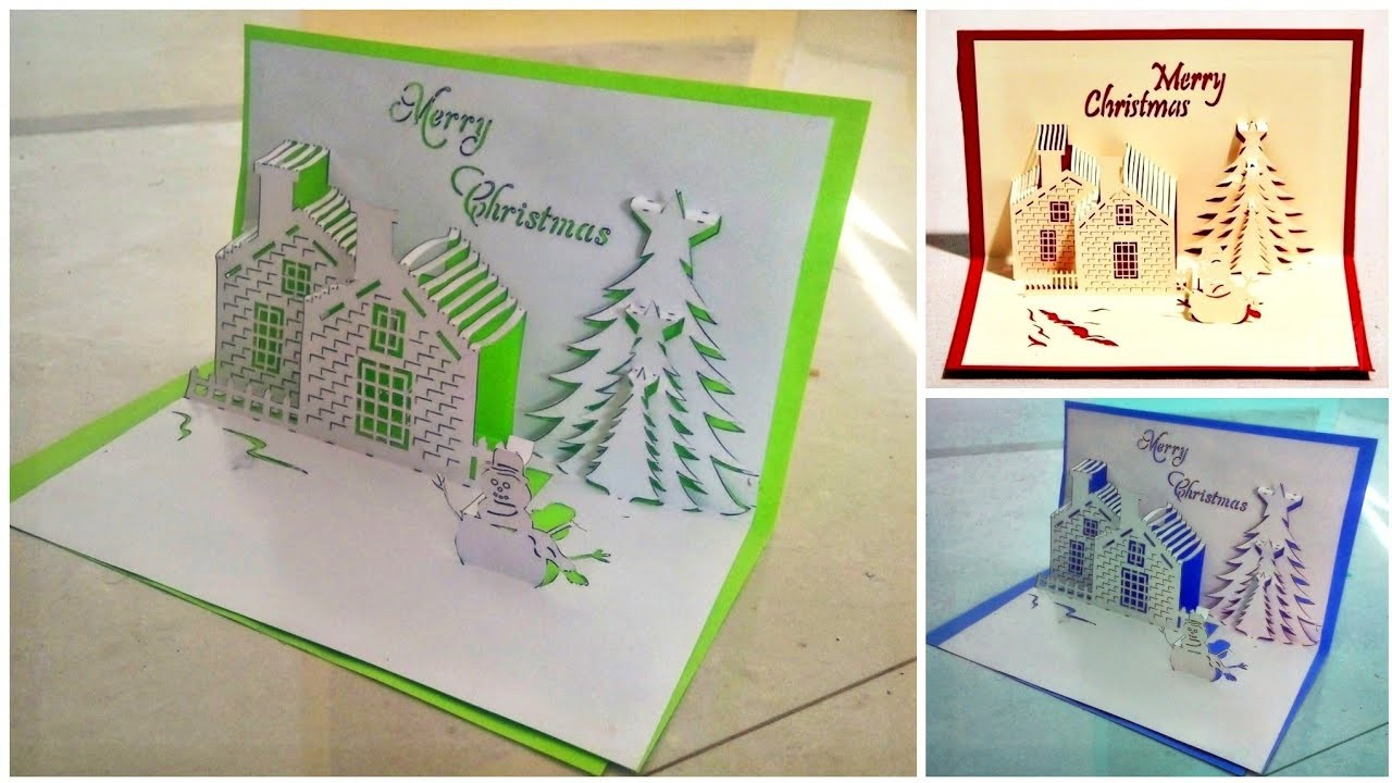 How to make pop up card for Christmas.christmas greeting card