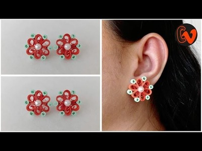 How To Make Quilling Stud Earrings Tutorial. Paper Quilling Earrings. Design 38