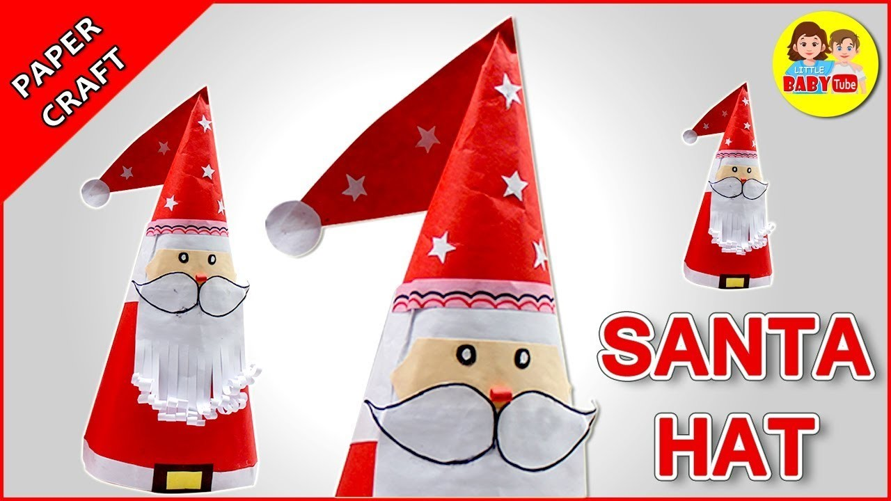 How To Make Santa Claus Cap With Paper | Santa Hat | Christmas Crafts
