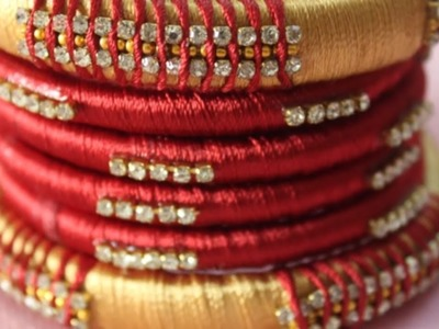 How to make silk thread bangles designs, Red bangle Designs, silk thread bangles new designs making