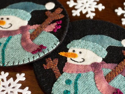 How to Make Snowman Wooly Mug Rugs   A Shabby Fabrics Tutorial