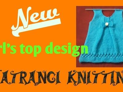 New girl's top design  part - 1  Satrangi knitting