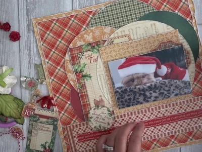 12x12 Christmas Scrapbook Layout | Start to Finish Tutorial