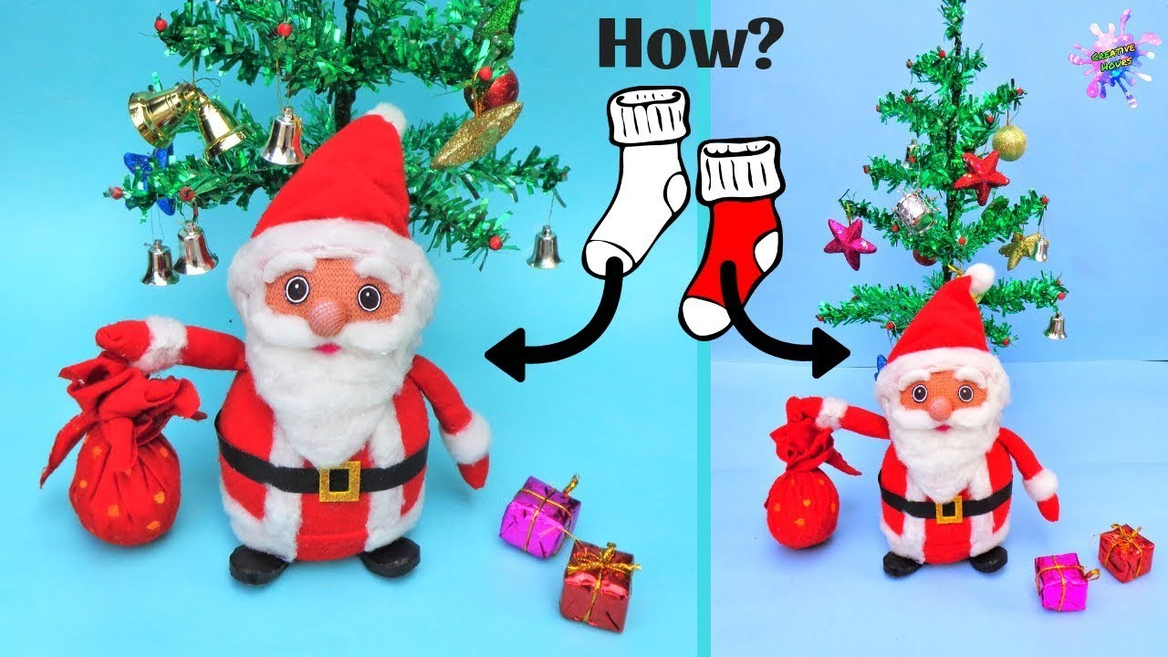 DIY Christmas Room Decor ideas. How to make Santa Claus from Old Socks. Easy Christmas Craft