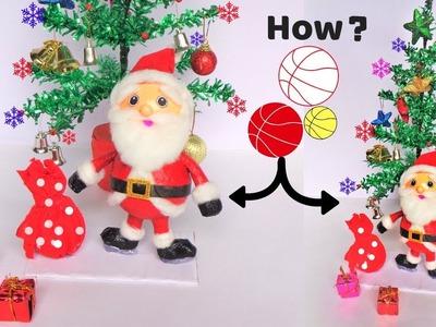 DIY Christmas Room Decor ideas. How to make Santa Claus from Plastic Ball. Easy Newspaper Craft