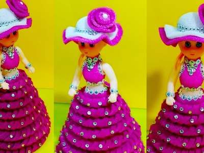 DIY.DOLL DECORATION IDEA.FOAM SE GUDIYA SAJANE KA TARIKA. HOW TO DECORATE DOLL