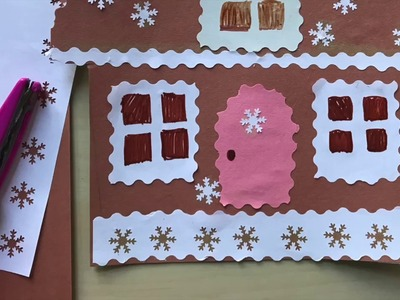 How to create a gingerbread house. Art lesson for kids.