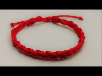 HOW TO MAKE A GOOD LUCK 4 STRANDED PLAIT RED CORD BRACELET