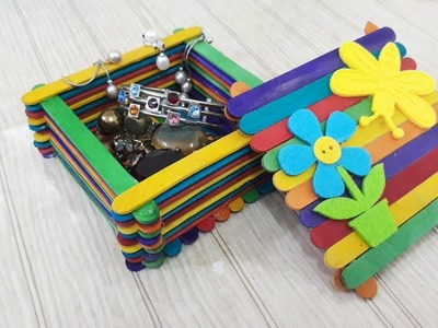 How to make an easy and beautiful Jewellery box using icecream sticks - DIY     Easy craft project