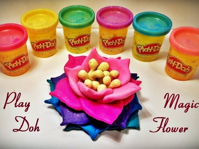 How to Make Colorful Sparkly Play Doh Magic Flower ( Lotus, Water lily)